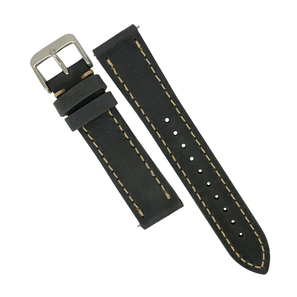 Quick Release Modern Leather Watch Strap in Grey (22mm) - Nomad watch Works
