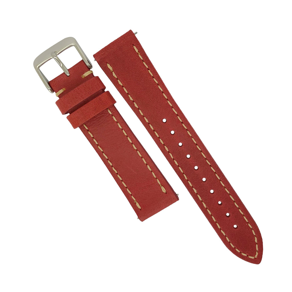 Quick Release Modern Leather Watch Strap in Red (22mm)
