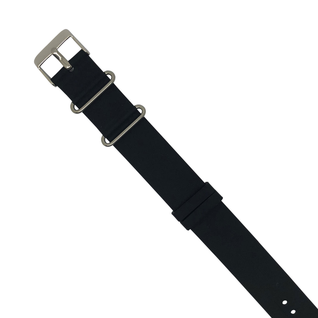Rubber Nato Strap in Black with Silver Buckle (18mm) - Nomad watch Works