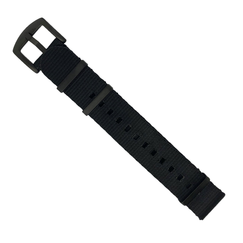 Seat Belt Nato Strap in Black with Black Buckle (20mm) - Nomad watch Works