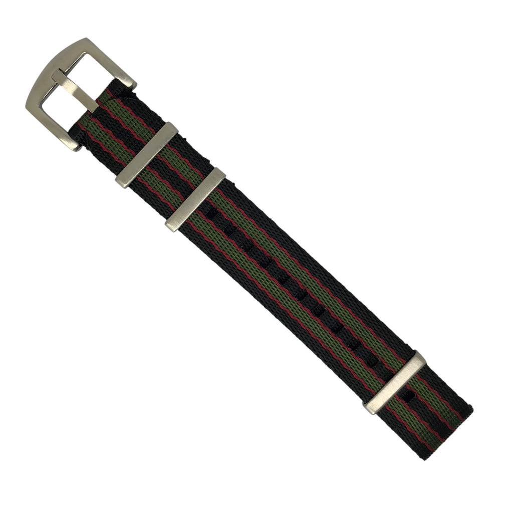 Seat Belt Nato Strap in Black Green Red (James Bond) with Brushed Silver Buckle (22mm)