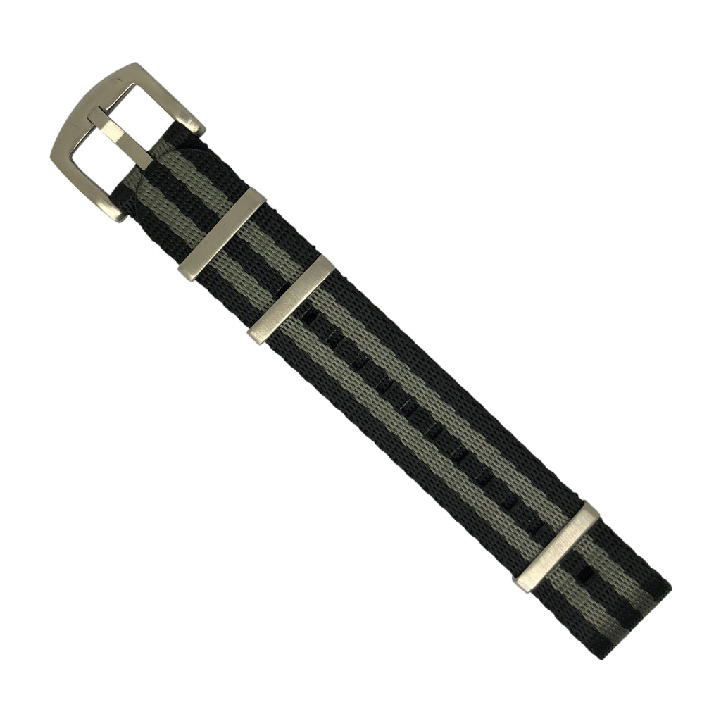 Seat Belt Nato Strap in Black Grey (James Bond) with Brushed Silver Buckle (20mm)