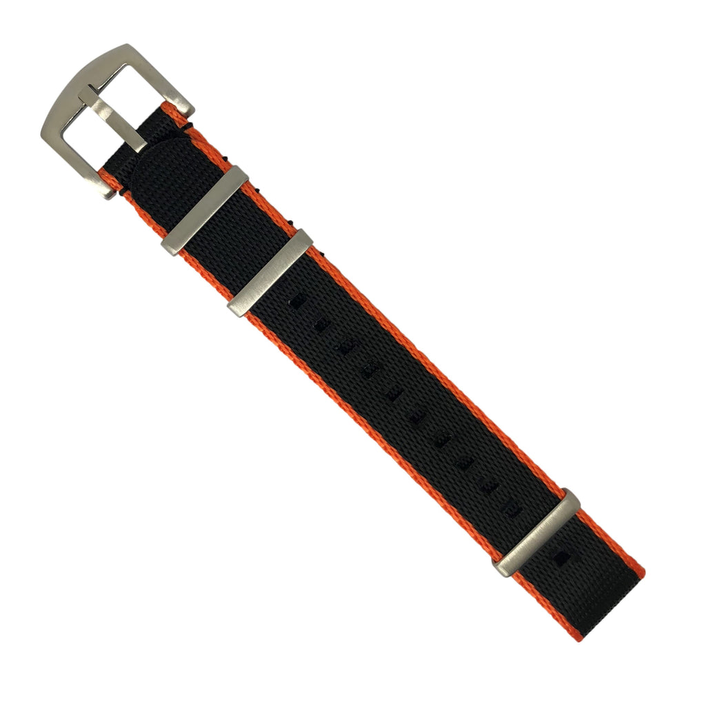 Seat Belt Nato Strap in Black with Orange Accent with Brushed Silver Buckle (20mm)