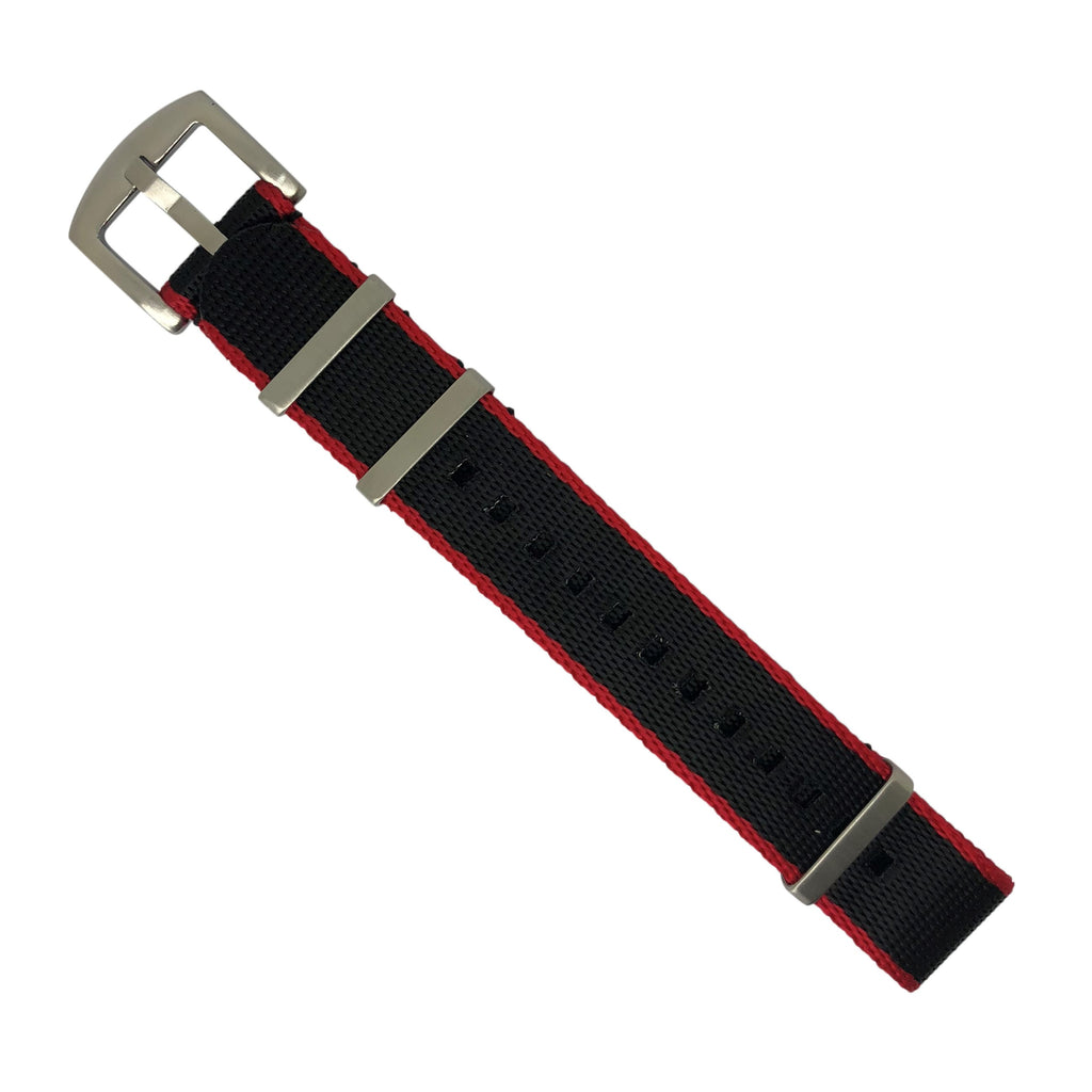 Seat Belt Nato Strap in Black with Red Accent with Brushed Silver Buckle (20mm)
