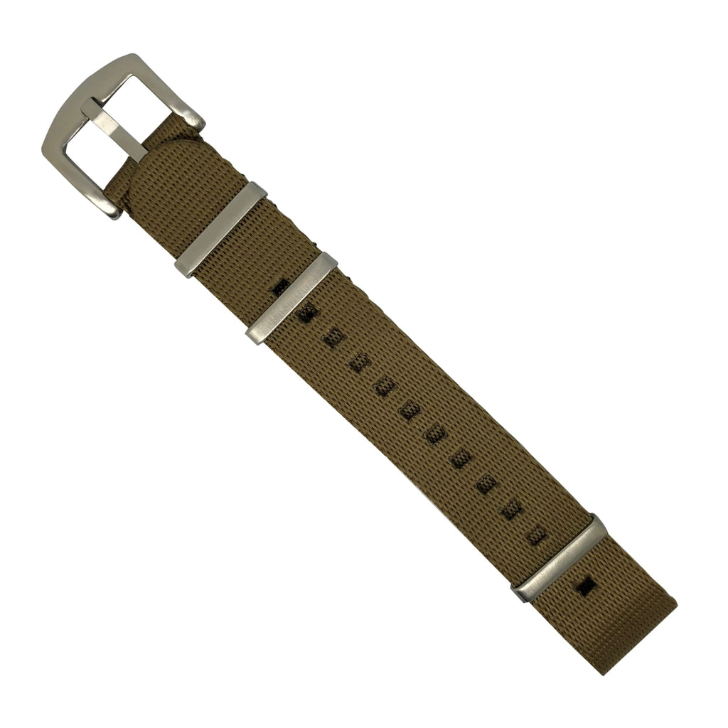 Seat Belt Nato Strap in Khaki with Brushed Silver Buckle (20mm)