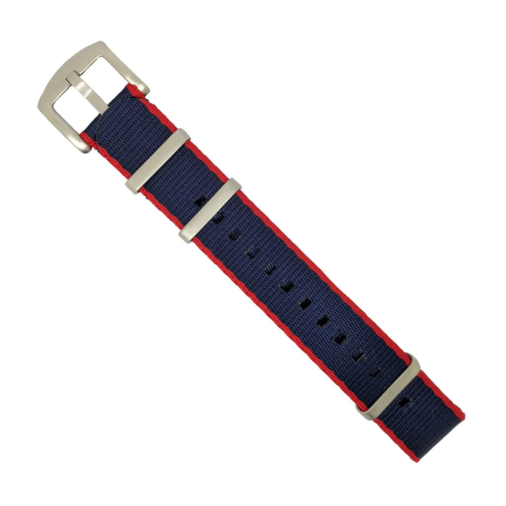 Seat Belt Nato Strap in Navy Red (Pepsi) with Brushed Silver Buckle (20mm)