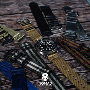 Two Piece Seat Belt Nato Strap in Black Grey (James Bond) with Brushed Silver Buckle (22mm) - Nomad watch Works