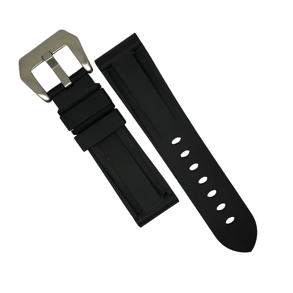 V3 Silicone Strap in Black with Pre-V Silver Buckle (20mm) - Nomad watch Works