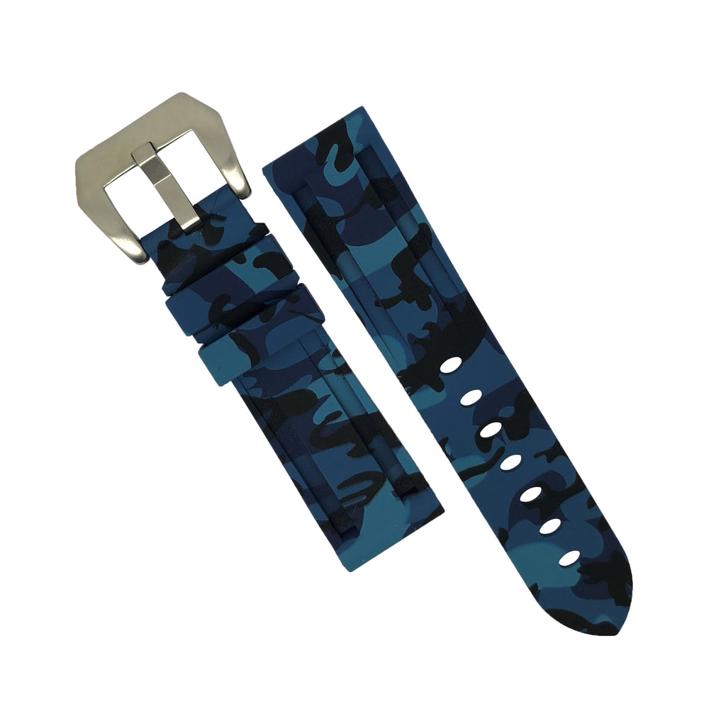 V3 Silicone Strap in Blue Camo with Pre-V Silver Buckle (20mm) - Nomad watch Works