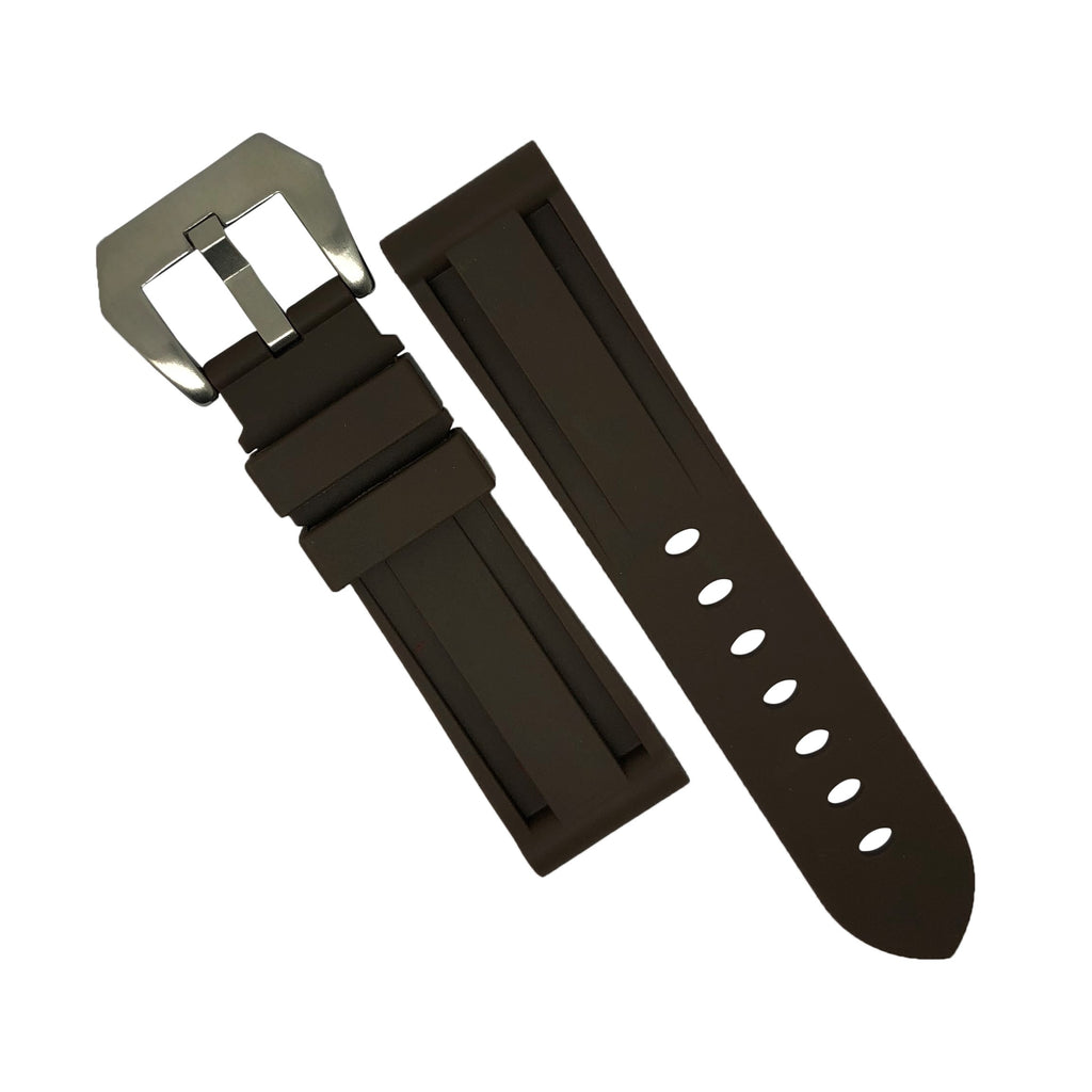 V3 Silicone Strap in Brown with Pre-V Silver Buckle (24mm)