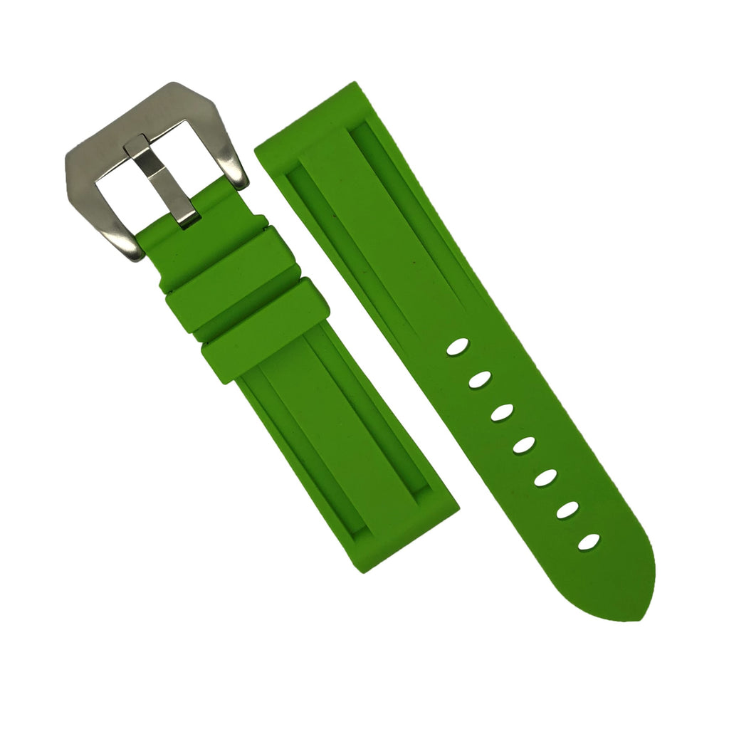 V3 Silicone Strap in Green with Pre-V Silver Buckle (24mm)