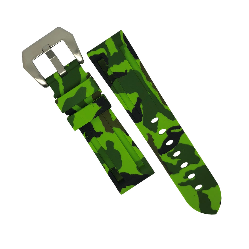 V3 Silicone Strap in Green Camo with Pre-V Silver Buckle (24mm)