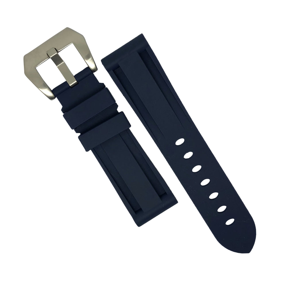 V3 Silicone Strap in Navy with Pre-V Silver Buckle (20mm) - Nomad watch Works