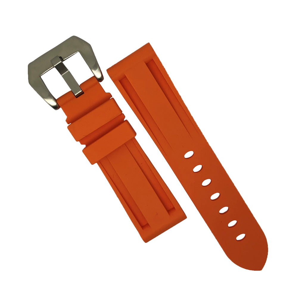 V3 Silicone Strap in Orange with Pre-V Silver Buckle (24mm)