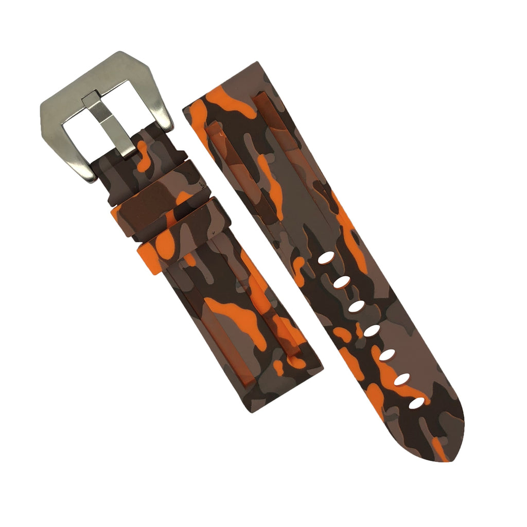 V3 Silicone Strap in Orange Camo with Pre-V Silver Buckle (24mm)