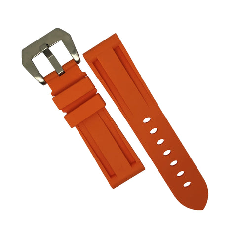 V1 Silicone Strap in Brown w/ Silver Deployant Buckle (24mm)