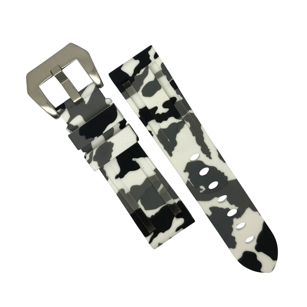 V3 Silicone Strap in White Camo with Pre-V Silver Buckle (24mm)