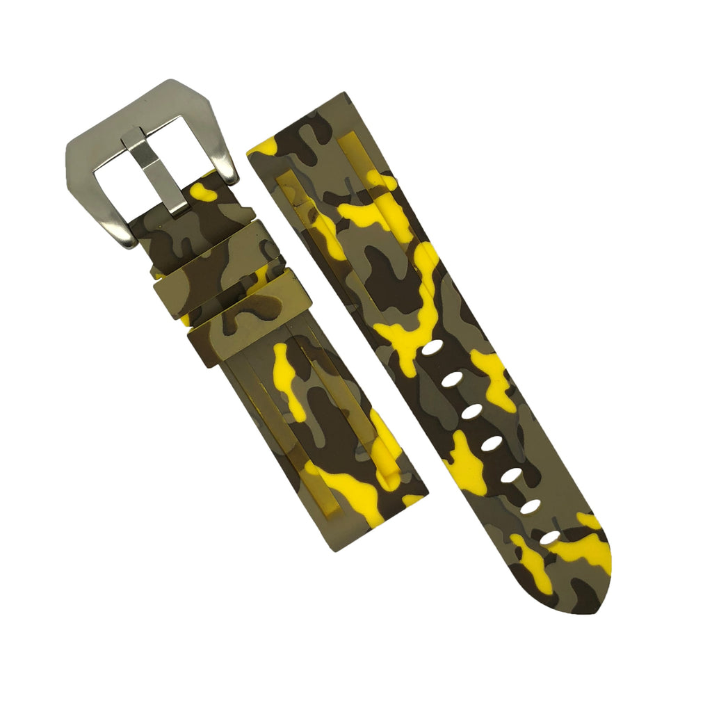 V3 Silicone Strap in Yellow Camo with Pre-V Silver Buckle (24mm)