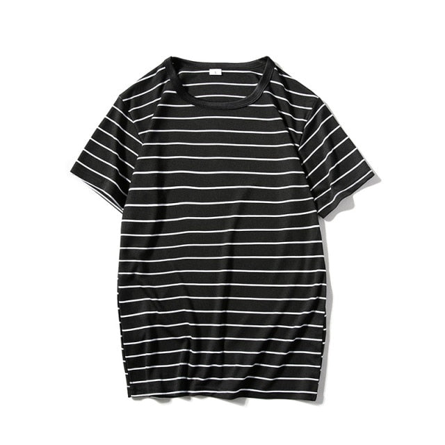 Striped Mens T-shirt Short Sleeve 2018 Summer Hi-street Oversized Tshirt Cotton Tee Shirts 2 Colors