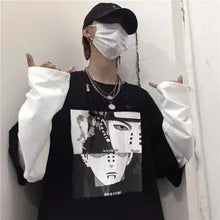 Load image into Gallery viewer, Cool Spring Japan Amine Men's Tshirt Long Sleeve Harajuku Kakashi T Shirt Japanese Cartoon Streetwear Hip Hop Patchwork Tshirts