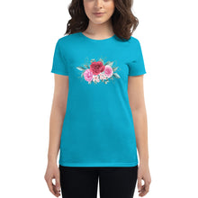 Load image into Gallery viewer, Roses art Women's short sleeve t-shirt