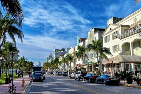 A historic street with art deco buildings from the 1920s and 1940s that is a popular promenade and gathering place for the bohemian public.