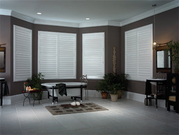 living room with brown walls and white shutters