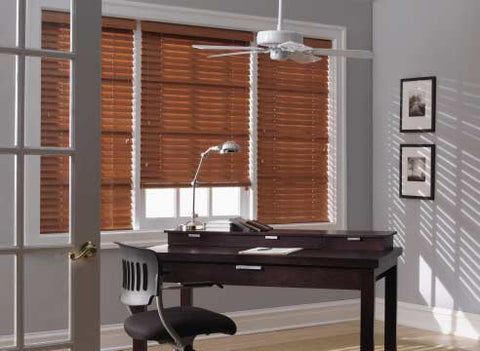 office with brown shutters