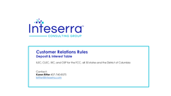 Customer Relations Rules - Deposit and Interest Table