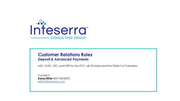 2019 Customer Relations Rules - Deposits & Advanced Payments