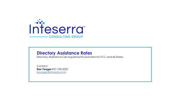 Directory Assistance Rates