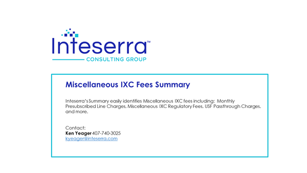 Miscellaneous IXC Regulatory Fees Summary