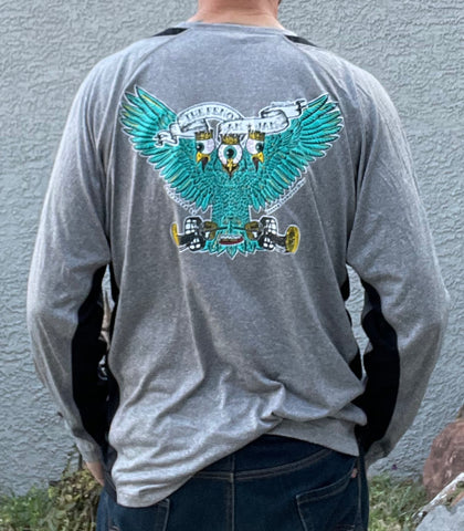 LONG SLEEVE DRI-FIT SHIRT - TRI EYE MONSTER BIRD - HEATHER N' OBSIDIAN