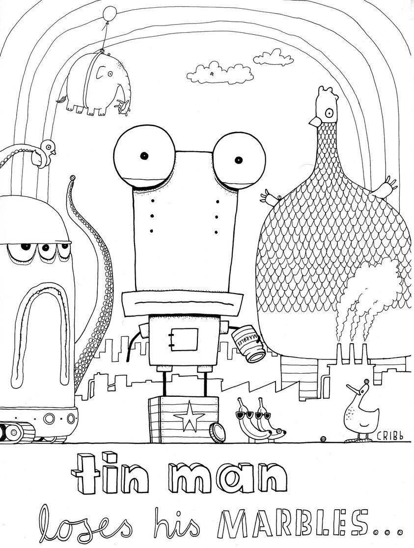 The Adventures of Tin Man colouring in activity