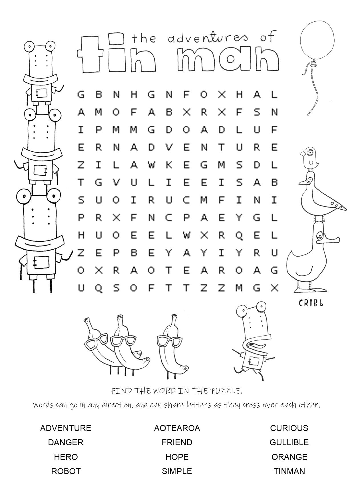 The Adventures of Tin Man word find activity