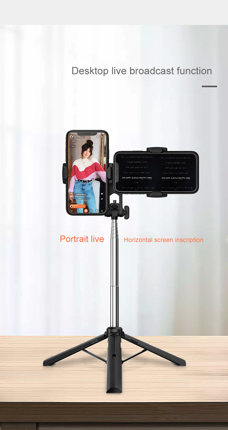 A32 Double Clip 360 Degree Rotating Wireless Portable Selfie Stick Tripod Multiple Device