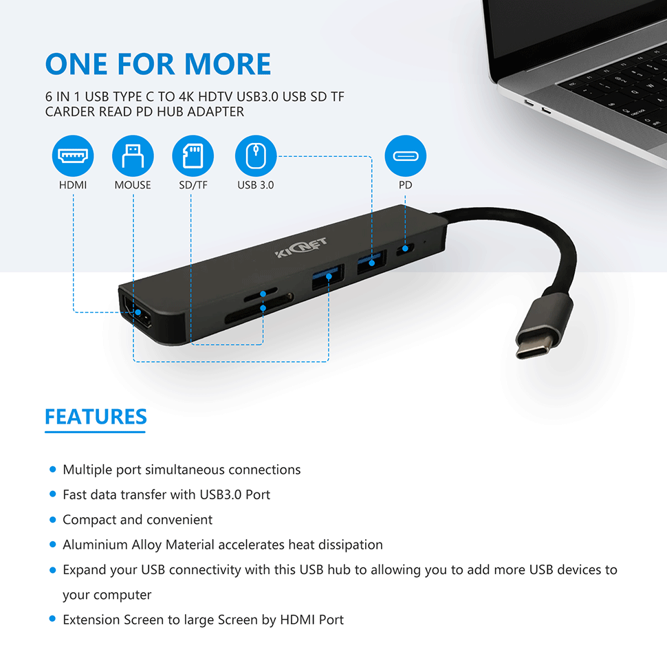 6 IN 1 USB Type C to 4K HDTV USB3.0 USB SD TF Carder Read PD Hub Adapter