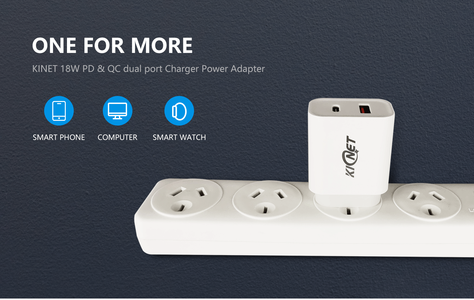 KINET 18W PD & QC dual port Charger Power Adapter