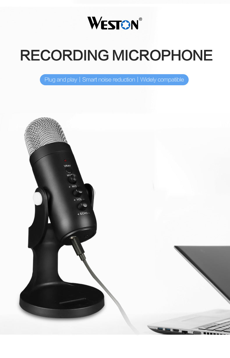 High Quality Computer PC Laptop USB Microphone with stand for Video Recording streaming