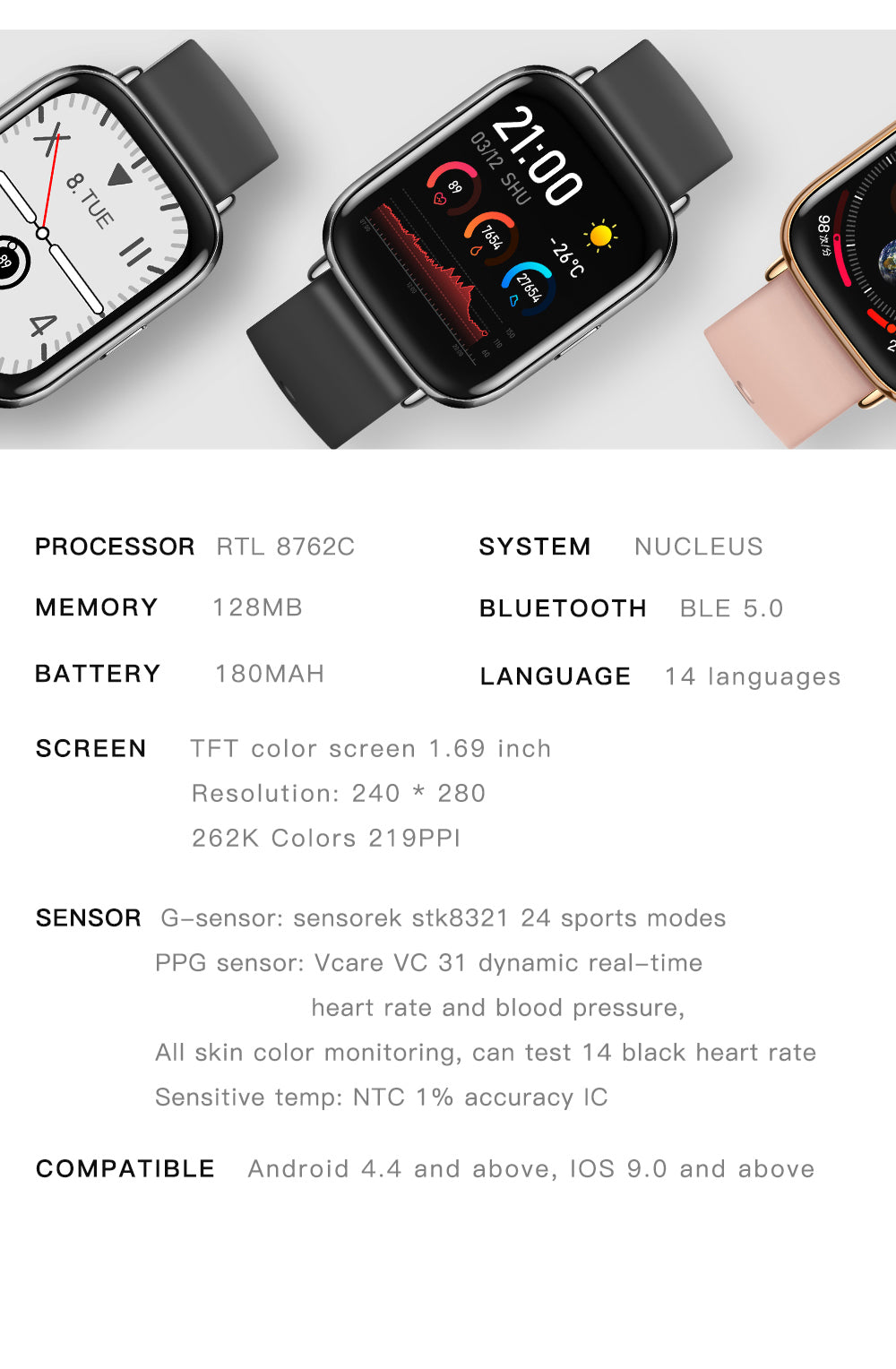 UM68T Smart Watch Bluetooth Blood Pressure Heart Rate IP67 Waterproof For IOS Android