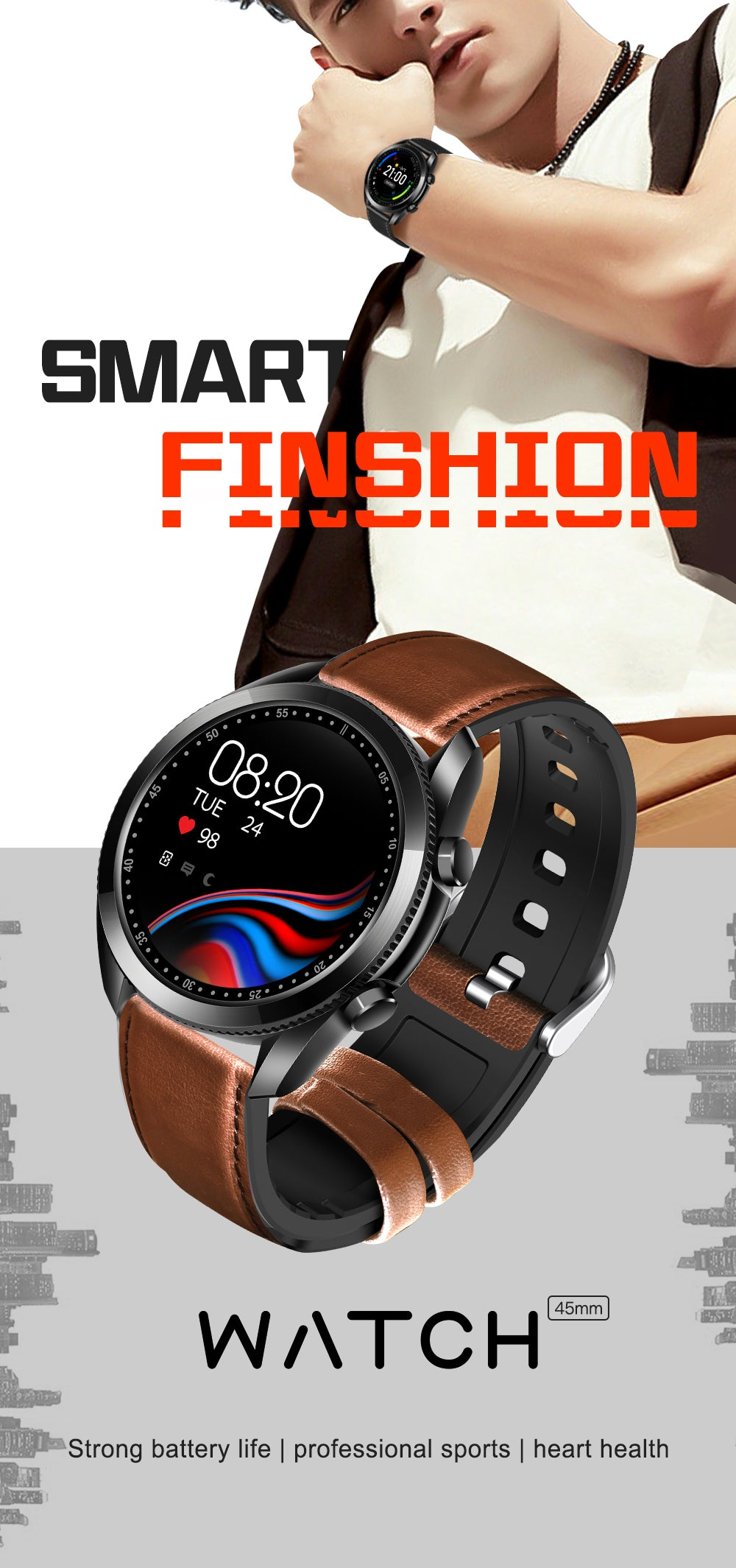 UM90 Smart Watch Bluetooth Blood Pressure Heart Rate IP67 Waterproof For IOS Android