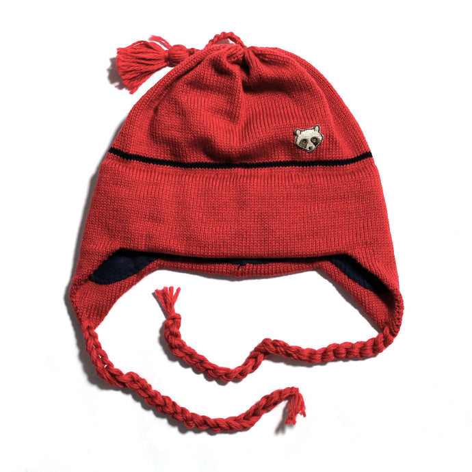 Wool Earflap Knit Hat (Navy/Red)