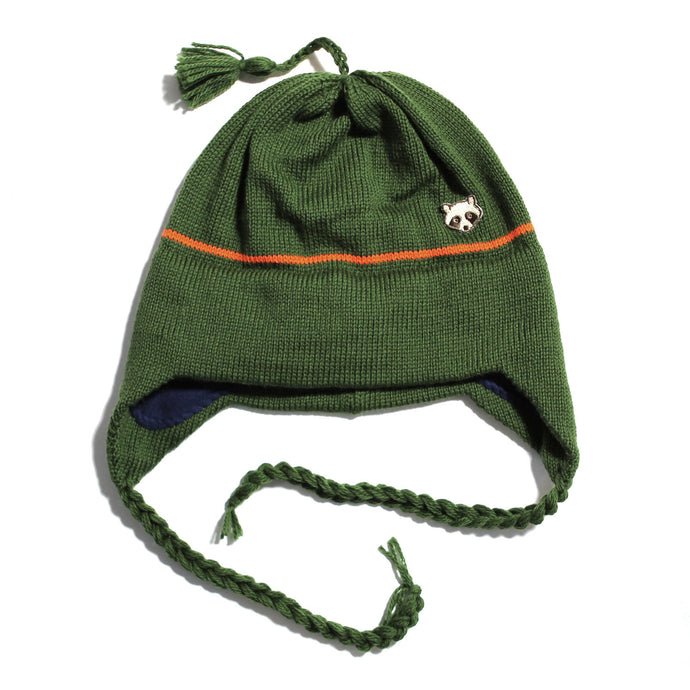 Wool Earflap Knit Hat (Sage/Orange)