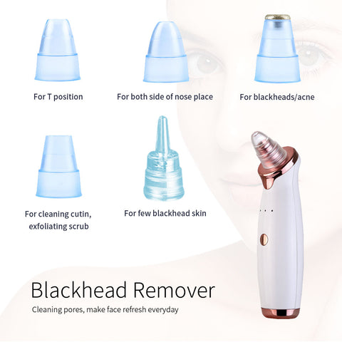 Black head remover different suction heads