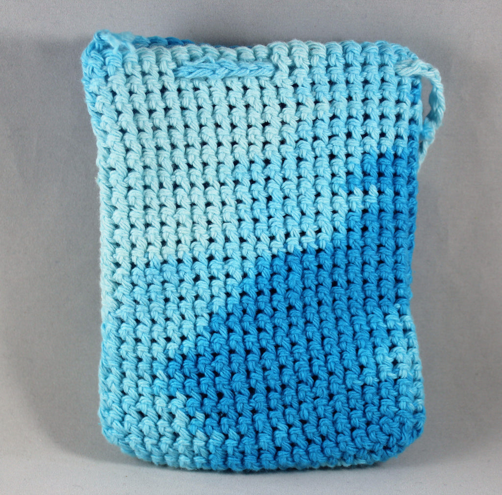 Crochet All Cotton Soap Saver Washcloth made by Jim Bright Blue