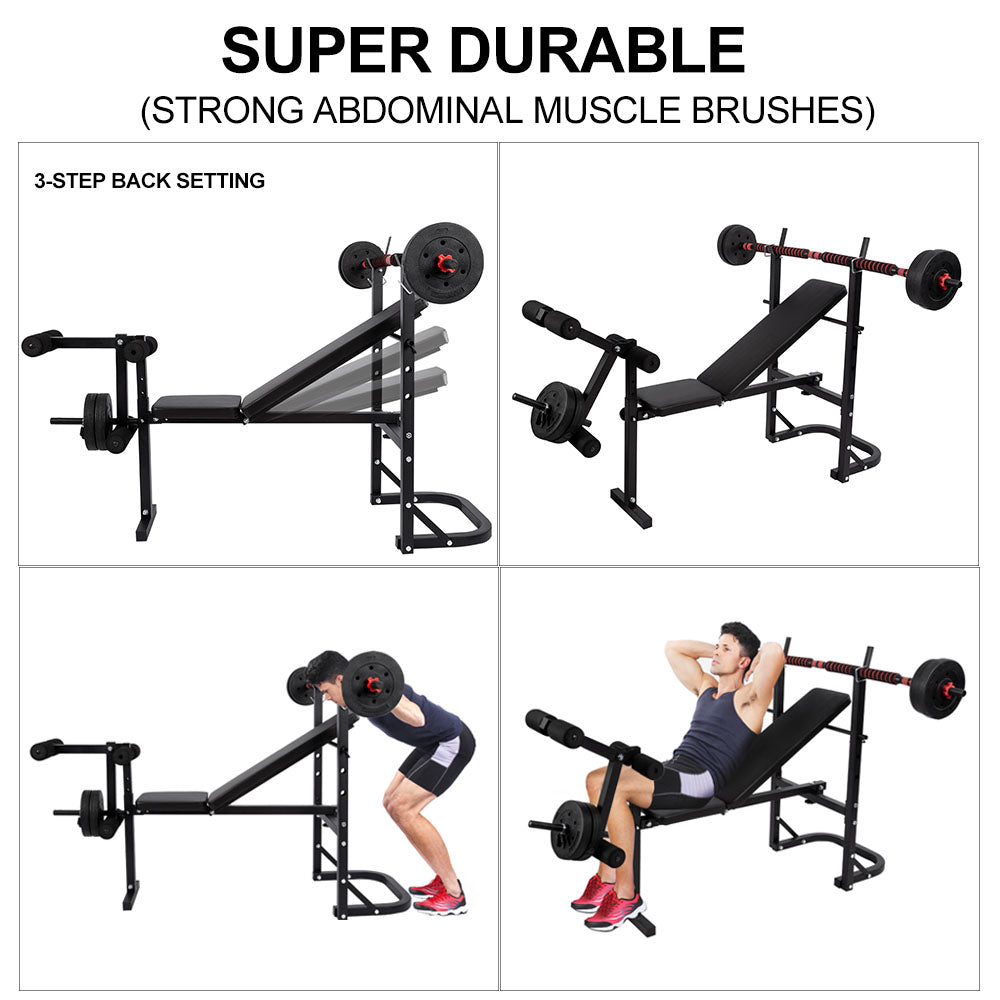 Adjustable Weight Bench with Barbell Rack
