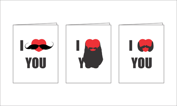Three I love you (with beard) foldable greeting cards from Burton and Levy