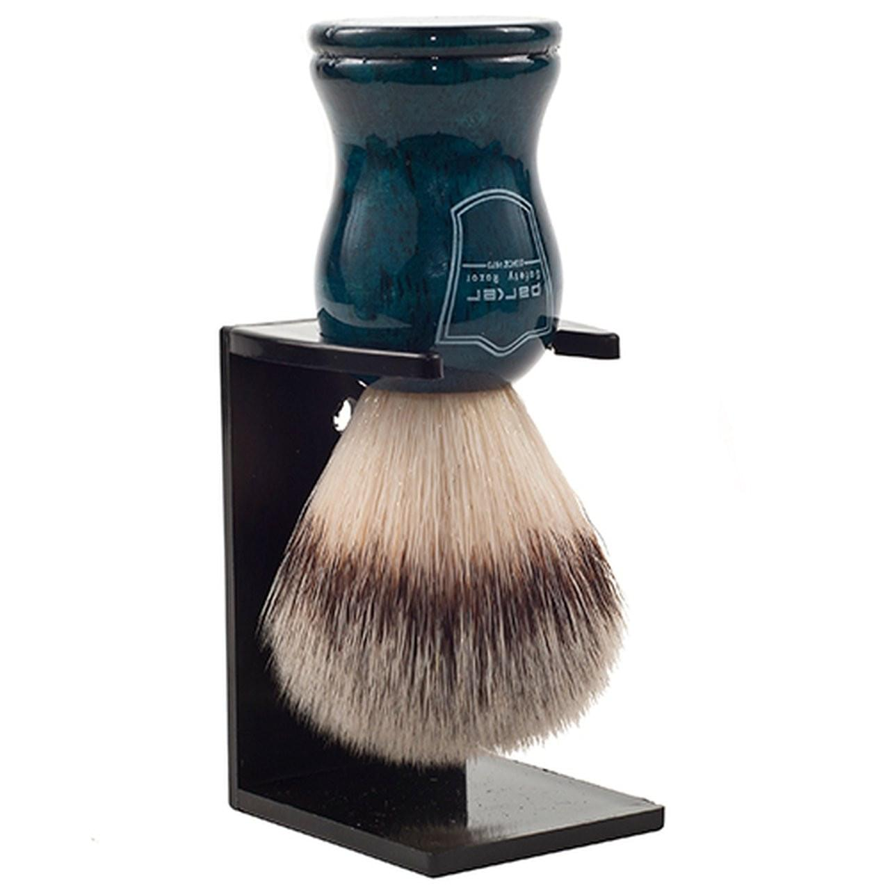 Parker Blue Wood Handle Synthetic Shaving Brush and Stand - Shaving - Burton and Levy
