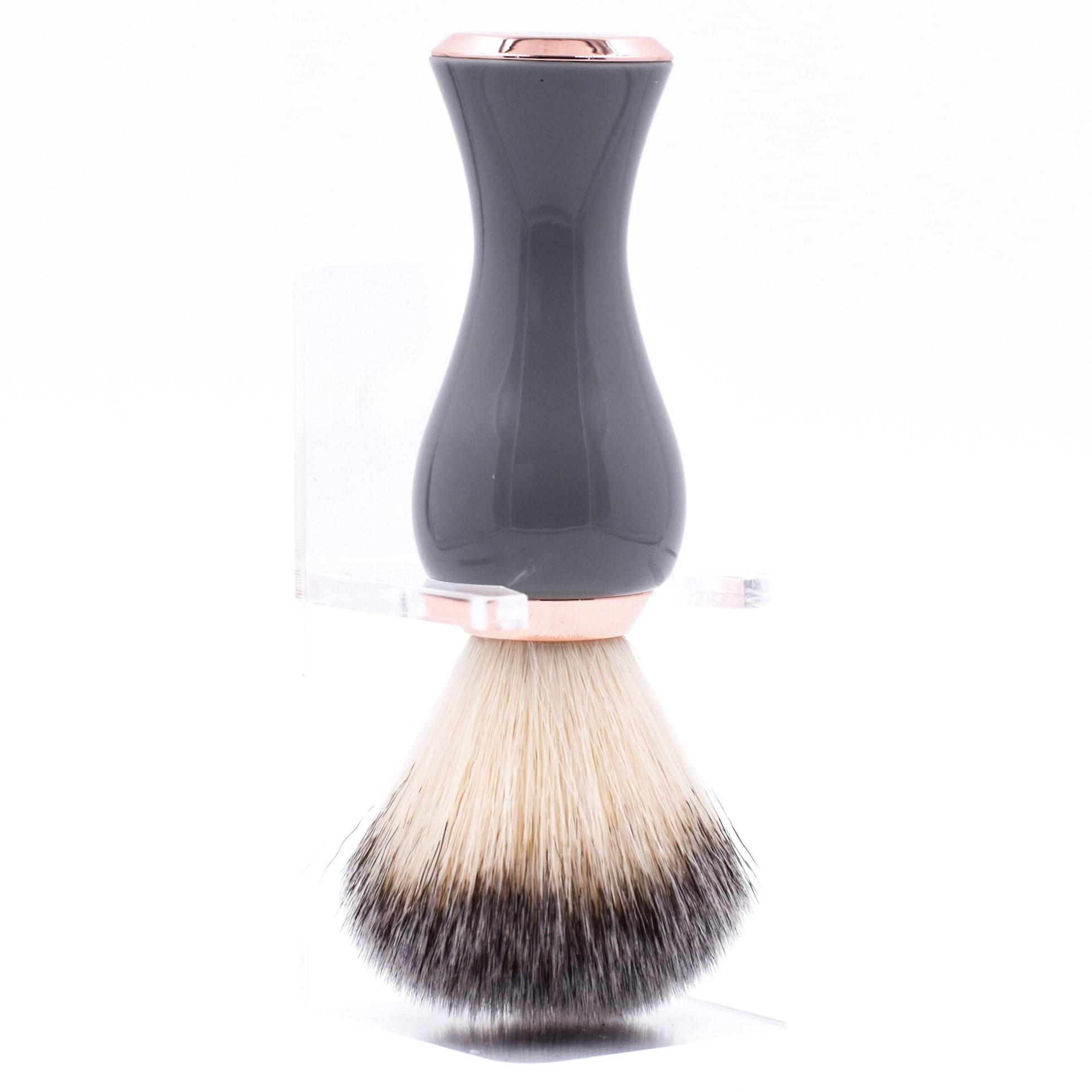 Parker Grey & Rose Gold Handle Synthetic Bristle Brush - Shaving - Burton and Levy