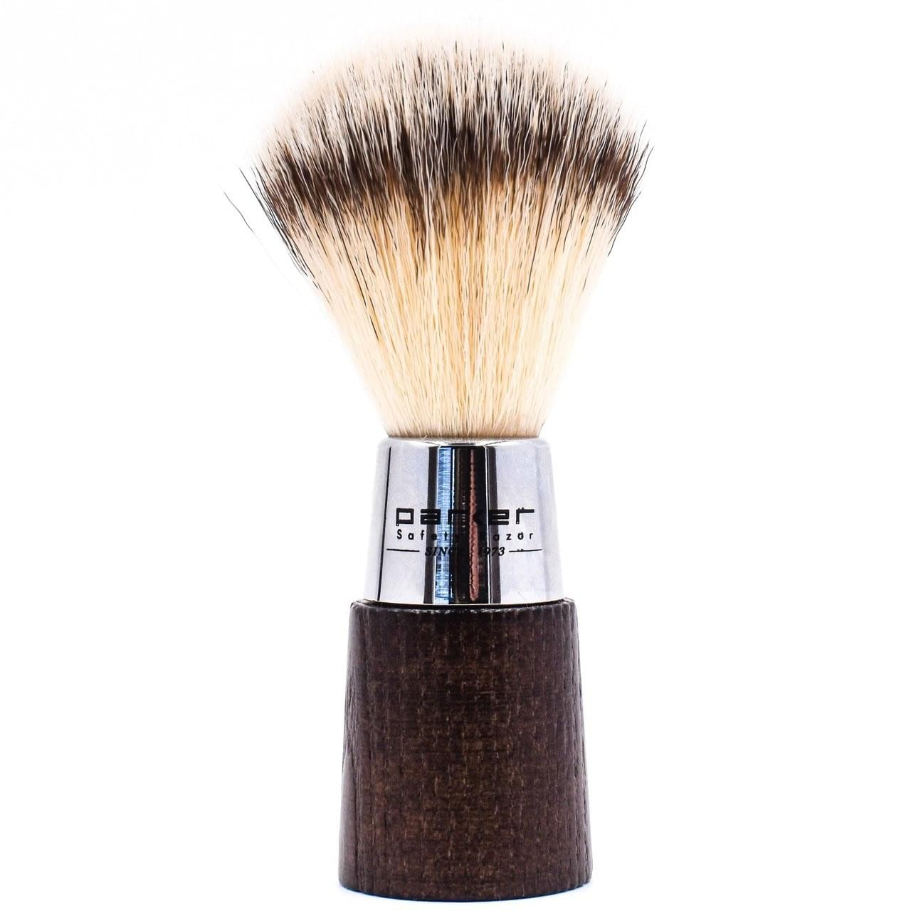 Parker Walnut & Chrome Handle Synthetic Shave Brush